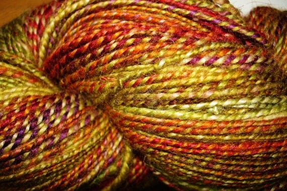 Hand Spun, Hand Dyed Blue Faced Leicester  Wool Yarn, 176 yards, green/gold, red, rust, orange, plum.