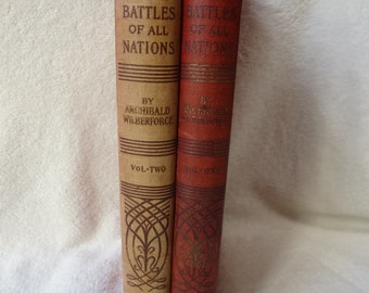 Antique Books - 1898 The Great Battles of All Nations by Archibald Wilberforce Volumes 1 & 2