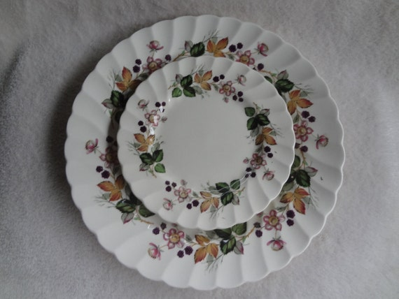 Myott Staffordshire Olde Chelsea Hedgerow Floral and Berry Plates