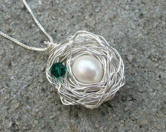 Bird's Nest Birthstone Necklace & Chain - Argentium Sterling Silver Pendant - Made to Order