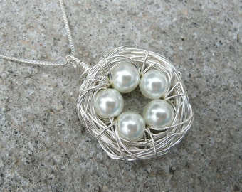 5 Eggs Bird's Nest Necklace & Chain - Argentium Sterling Silver Pendant