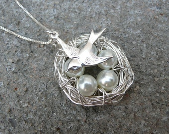 5 Eggs Bird's Nest Necklace, Bird Charm & Chain - Argentium Sterling Silver Pendant