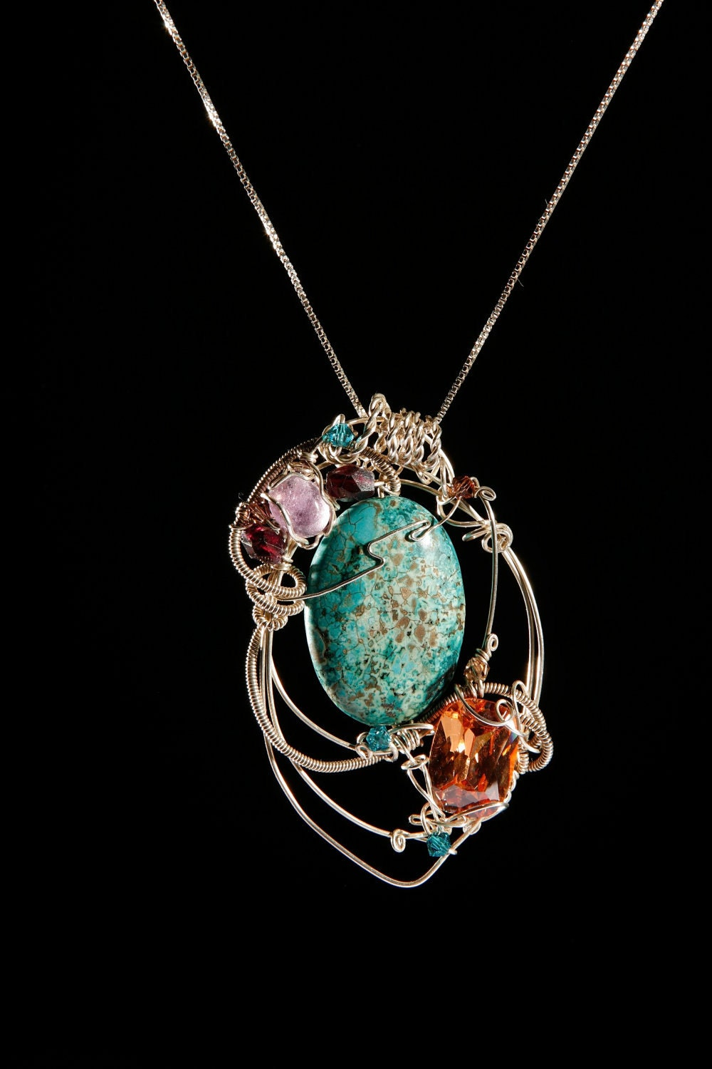 sterling silver wire wrapped jewelry chrysocolla citrine