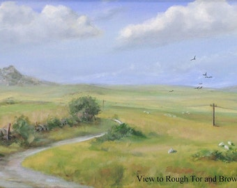 Cornish Landscape Print of Oil on Canvas- A4 - View to Rough Tor and Brown Willy
