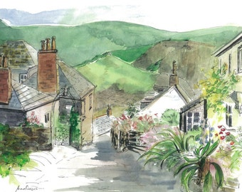 Landscape Watercolour Print, Rose Hill, Port Isaac / Port Wenn, Cornwall