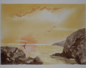 Seascape Commission Watercolours - A4 - Seascapes, in a choice of colours