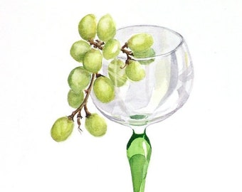 Grapes Watercolour Print - A4 - Glass of White No 1