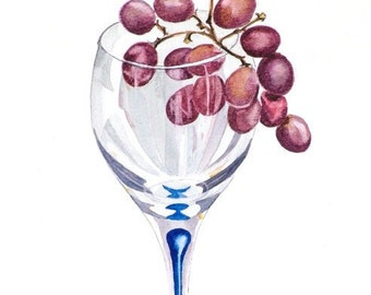 Grapes Watercolour Print - A4 - Glass of Red,