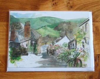 Cornish Greetings Card Watercolour Print - 7 x 5 (13 x 18 cm) - Rose Hill, Port Isaac