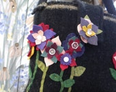 Garden party bag.  Recycled wool sweater bag or purse.  Handcut flowers with antique buttons