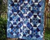 Baby Boy Blue kaliedoscope quilt.  36 inches x 45 inches.