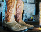 Vintage Two tone Rough- out Style Acme brand Cowboy boots near mint condition 9 1/2 EE