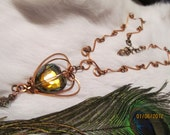 Golden Olive Crystal Heart Pendant and Necklace Wire Wrapped in Solid Square Copper Wire  20 to 50% off SUMMER SALE