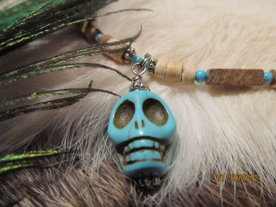 Turquoise SKULL Necklace  20 to 50% off summer sale
