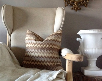 Missoni Inspired Neutral Striped Zig Zag PIllow - 18 inch Cover