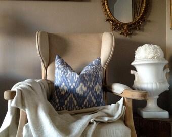Blue & White Linen Ikat Pillow Cover 18 -20''