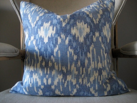 Reservef for Ksoltis21 - A pair of Blue & White Linen Ikat - 18-20 inch Pillow Cover