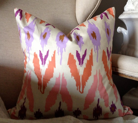 """Coral Pink & Purple Ikat Print Pillow Cover - 18"""""""