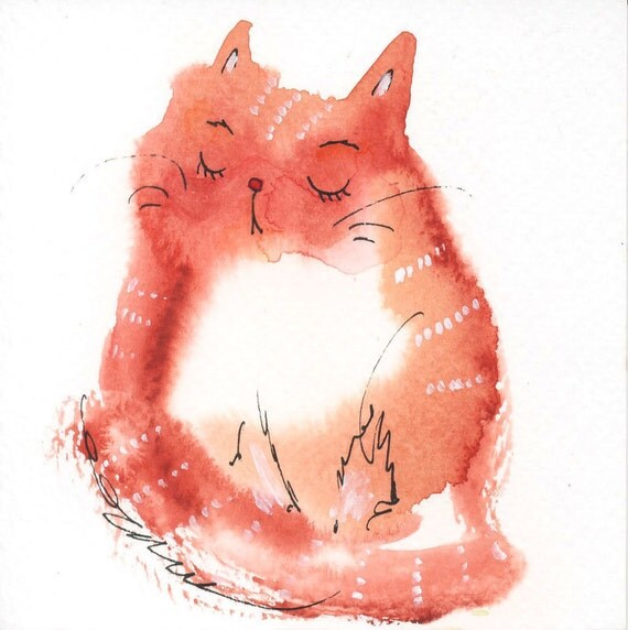 Small original watercolor painting cute cat nr 3 by tinabits for Cute watercolor paintings