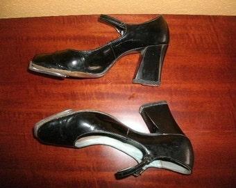 Tap Shoes/ MARYJANE /Vintage/Dance/ BLACK Patent Leather