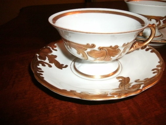 Porcelain and GOLD/Cup and Saucer/GOLD And WHITE Antique China/ Poland