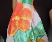 hand painted pink silk scarf / shawl  with flowers