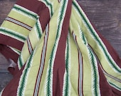 Chocolate brown and moss green striped mid-century barkcloth-a large piece of vintage sewing materialSALE