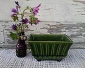 Retro Olive Green Planter - Vintage Pottery Flower Holder by USA, Windowsill Plants, Inside Herb Garden, Mid Century Art Pottery Planters