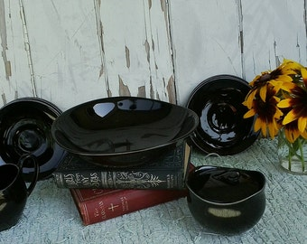 Mid Century Black Milkglass Serving Ware - Vintage Partial Set of China, Halloween Wedding,  Kitchen Decor + Servingware, Housewarming Gift