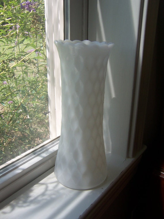 1950's dreamy opaque white milkglass vase with indented diamond design