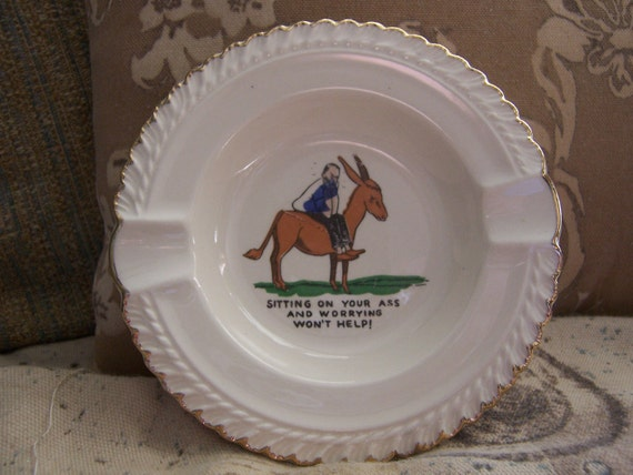 Vintage naughtry ashtray-porcelain ashtray-Don't be a bleep-kitsch naughty ashtray