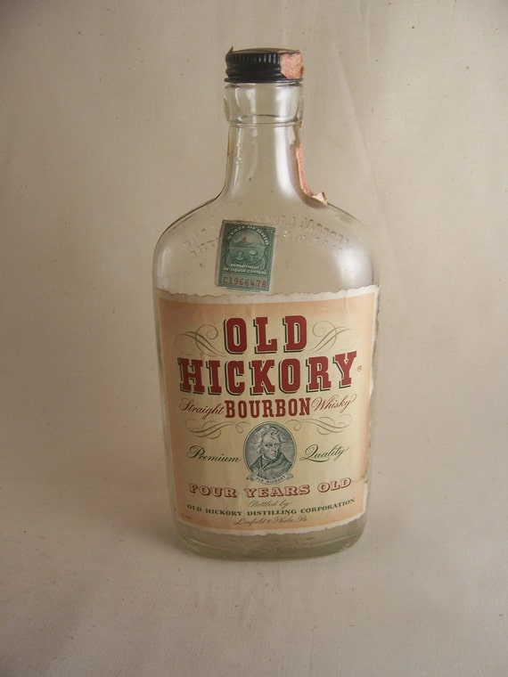 "Antique bourbon bottle-""Old Hickory"" complete with 1930's tax seal from Ohio-vintage liquor bottle"