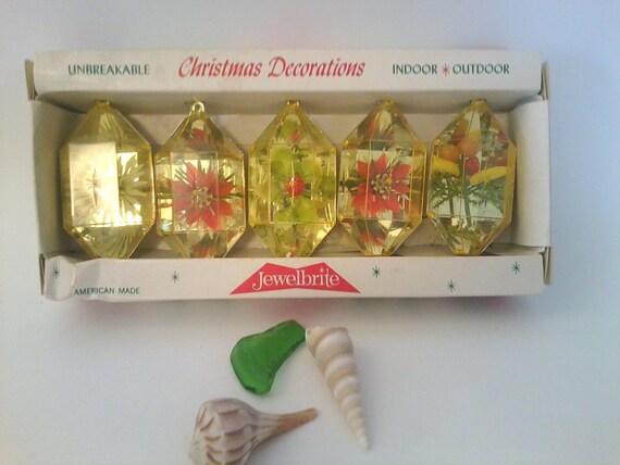 "Vintage mid-century-kitsch ""Jewelbrite"" ornaments in original box-sparkly plastic ornaments in brand new condition"
