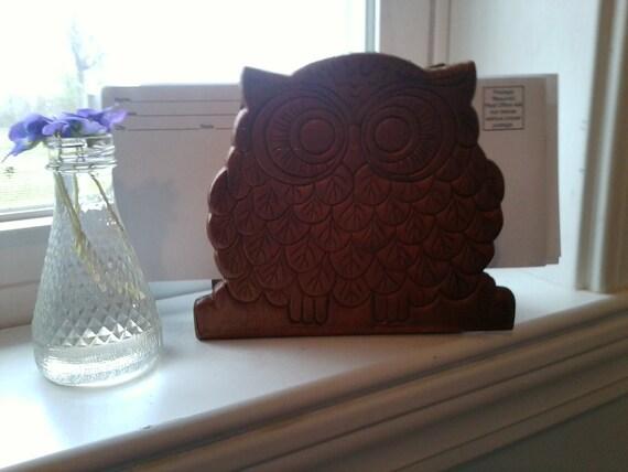 Mod brown owl wooden letter holder or vintage kitsch napkin holder