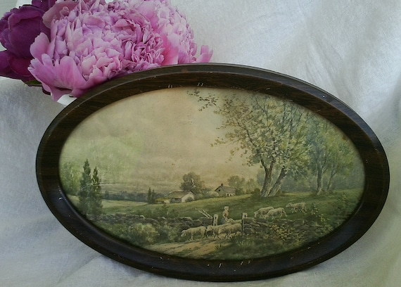 Whimsical shabby chic sheep print in oval metal frame