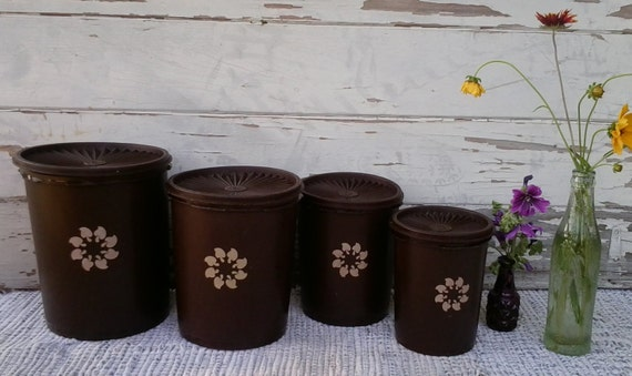 1970's mod chocolate brown Tupperware cannister set-psychedelic