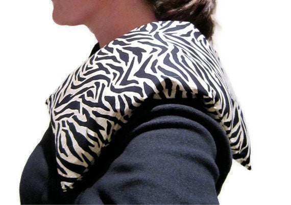 FLAX HEATING PAD with Removable / Washable Cover / Zebra Print