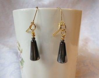Earrings Dangle Hematite and  Goldplated Findings