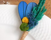 Kiwi Blueberry - Blue Yellow Green Boutonniere