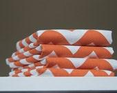 Cotton/Linen Tea Towel, Hand Printed Chevron in Burnt Orange