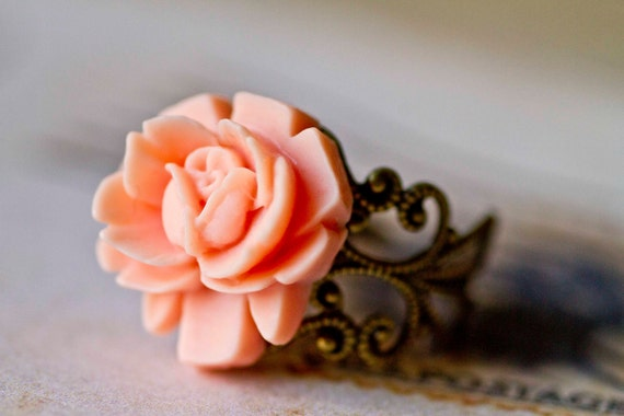 Free Shipping - Rose Ring -- Peach Flower on Antiqued Brass