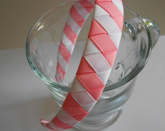 Pink and White woven headband