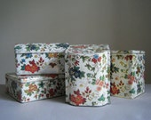 Vintage Floral Daher Tins, Cottage Chic, Shabby Chic, Organizer, Storage, Collection, Set of 4