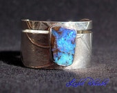 FREE SHIPPING - Boulder Blues - Boulder Opal Ring, Sterling Silver, Unique, OOAK, Gift, Jewelry, Purple, Blue, Pretty, Bands, Band, Original