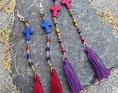 Tribal Stone Cross Rosary & Tassel Earrings