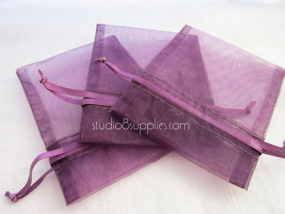 """30 Purple Plum Organza Gift Bags - 3"""" x 4"""" - Great for Packaging Your Homemade Creations to Sell or Gift Away"""
