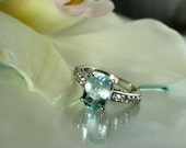 Ice Blue Natural Aquamarine and Sterling Silver Ring green gem company