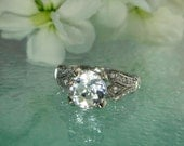 Herkimer Diamond Snow White Portuguese Cut  Antique Style Sterling Silver and White Topaz Ring green gem