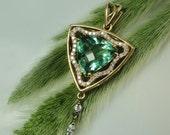 Green Fluorite Jewelry, Green Fluorite Pendant, Fluorite, Natural Gemstone, 18k Gold Pendant, Diamond Accents, Handmade