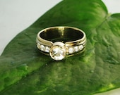 Stunning Unique Men's 14K Gold Herkimer Diamond and Diamond Accent Wedding Band by green gem